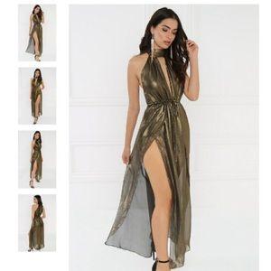 Gold Metallic Shimmer Slit Sheer Dress